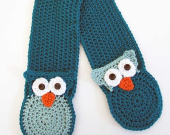 Owl Pocket Crochet Scarf Pattern - PDF