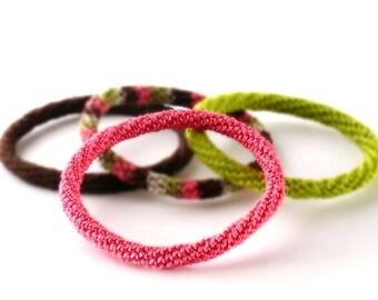 Minimal Bracelet Stacking Bangle Bracelet Pink Salmon Icord Rope Bracelet Boho Bracelet Gypsy Bracelet Non Metalic Bracelet