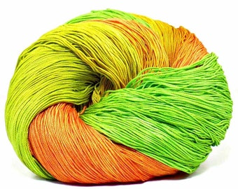 300 Yards Hand Dyed Cotton Crochet Thread Size 10 3 Ply Specialty Thread Orange Yellow Spring Green Hand Painted Fine Cotton Yarn