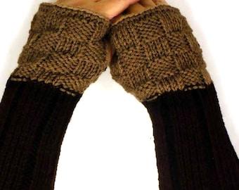 Knit Hand Warmers Brown Fall Gloves Dark Winter Gloves Warm Gloves Winter Accessories Fashion Accessories Texting Gloves Knit Handwarmers