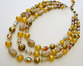 Shades of Autumn 3-strand Vintage Necklace