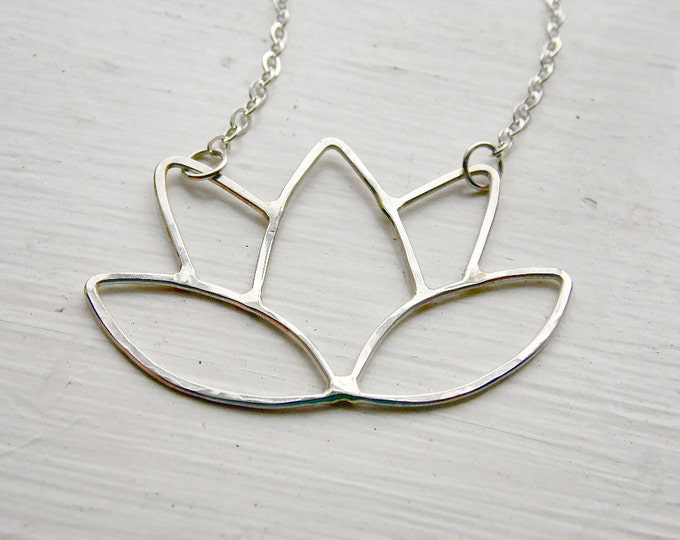 Lotus Flower Necklace in Sterling Silver