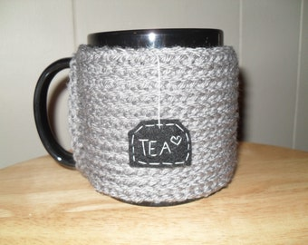 knitted tea mug cozy tea cup cozy in heather gray with black hanging tea patch and heart