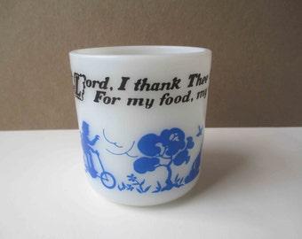 Vintage Hazel Atlas Milk Glass Blue Black Kiddie Cup