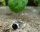 Hoop Earring Silver Onyx Gemstone SINGLE Gemstone Earring/Black Earring/Single Earring/Tragus Earring/Cartilage Earring/Conch Earring