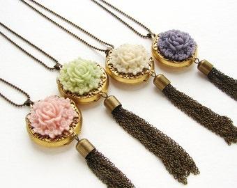 Flower cameo locket necklace, bridesmaid jewelry, locket tassel necklace, spring pastel garden necklace, wedding party gift
