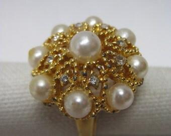 Chunky Pearl Rhinestone Filigree Ring Adjustable Vintage