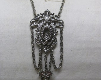 Chunky Filigree Silver Dangle Necklace Vintage Pendant Art
