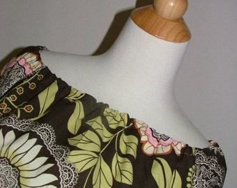 Boatneck DRESS or TOP - 3/4 length sleeves - Amy Butler - Olive Lacework - Made in any Size - Boutique Mia by CXV