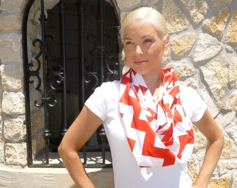 PERFECT GIFT - Infinity SCARF - Riley Blake - Red & White Chevron - Quilters Cotton - by Boutique Mia