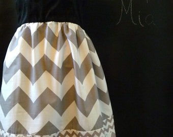 Tank DRESS with Chevron and Silk Sash - Riley Blake - Grey and White Chevron - Made in ANY Size - by Boutique Mia