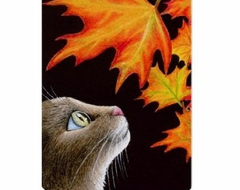 Fridge Magnet Print ACEO from my original painting Cat 442 fall autumn by Lucie Dumas