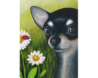 Fridge Magnet Print ACEO from my original painting Dog 79 or 80 Chihuahua by Lucie Dumas
