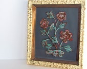 Vintage Framed Flower Picture - Bas Relief in Brown and Red