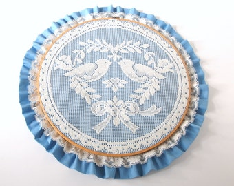Vintage 1970s Blue Lovebirds Embroidery Hoop Lace Art
