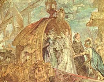The Landing of Marie de Medici by Peter Paul Rubens - an Original, Vintage 1954 Frameable Art Print