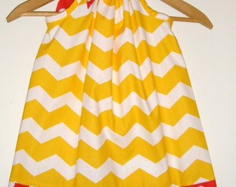 Yellow white Chevron pillowcase dress 3,6,9,12,1, months  2t,3t.4t.5t.,6,7,8,10,12