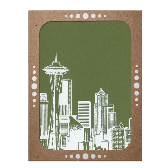 Set of 6 Screenprinted Seattle Notecards -- Choose from Apple Green or Evergreen