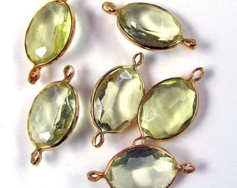 Vintage Lucite Jonquil Yellow Oval Connectors Channels 12