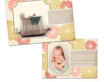Floral Birth Announcement for a Baby Girl - Photoshop Templates for Photographers - EF0001 - Ashlyn Design