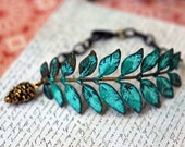 Verdigris Leaf Bracelet, Turquoise Patina on Antiqued Brass Leaf Stamping, Pine Cone Charm, Rustic Fall Fashion