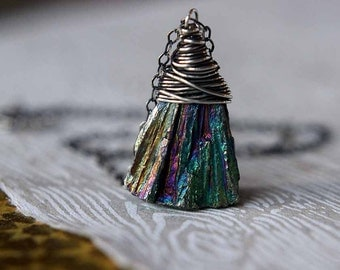 Mystic Pyrite Pyramid Pendant  Raw Gemstone Druzy  Sterling Silver Wire Wrapped  Iridescent Rainbow Sparkle  Gift Box