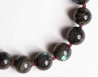 Gemstone Necklace Labradorite Garnet Gold // Dark Gray Burgundy // Meteor Shower