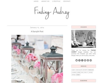 Premade Blogger Template - FINDING AUDREY - Mobile Responsive - Graphic Design - Blog Template
