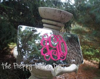 Custom Preppy Monogram Mirror License Plate