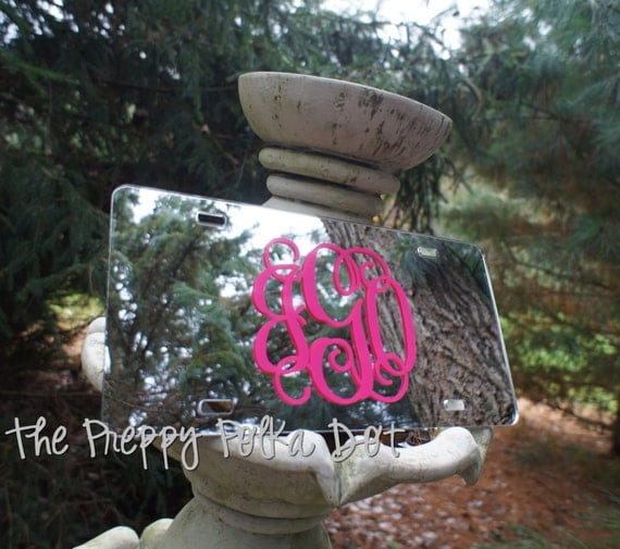 Custom Preppy Monogram Mirror License Plate