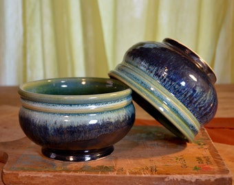 Bowl ceramic cereal, soup dessert, stoneware tableware, glazed in metallic gray green, handmade by hughes pottery