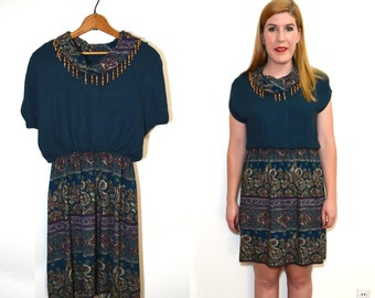 Green Blue Paisley Dress - Cowl Neck Dress - Vintage Teal Dress - Fringe Dress