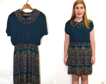 20 DOLLAR SUPER SALE! Green Blue Paisley Dress - Cowl Neck Dress - Vintage Teal Dress - Fringe Dress