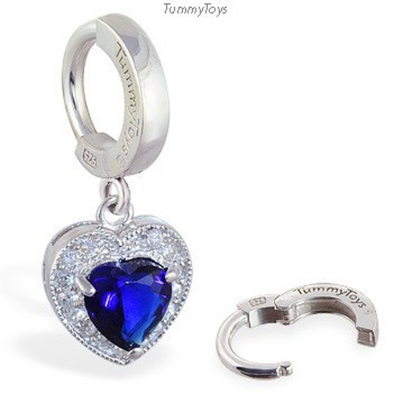 sterling silver belly ring with blue cz charm
