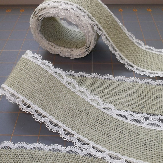 Items similar to sage green burlap ribbon with ivory lace for Green burlap ribbon