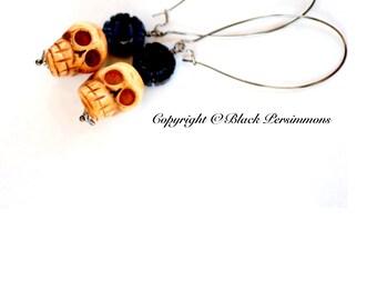 Viva Frida Earrings  2014 - Day of the Dead Carved Dyed Black Onyx Flowers Skulls Beads