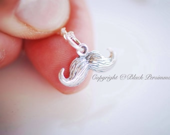 NEW - Mustache Necklace - Solid Sterling Silver Moustache Charm - Free Domestic Shipping