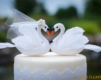 White Swan Wedding Cake Topper: Elegant Bride & Groom Love Bird Cake Topper