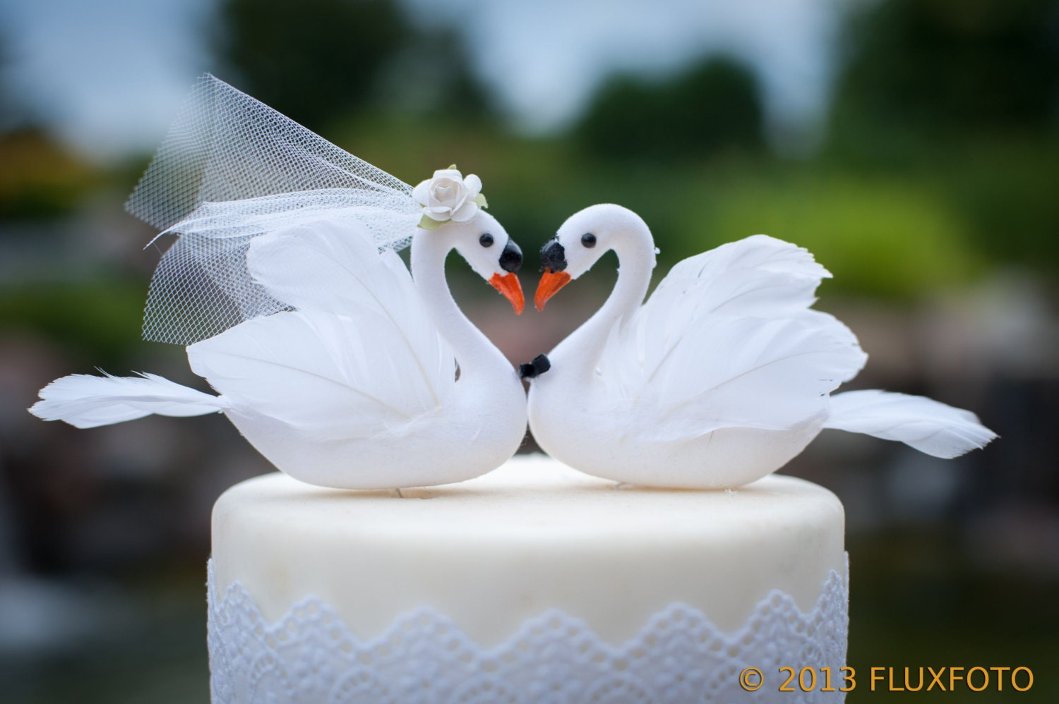 White Swan Wedding Cake Topper Elegant Bride & Groom Love