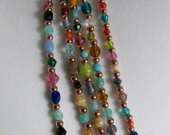 Copper and Glass Bead Necklace 36 inches, RKMixables Copper Collection RKM437