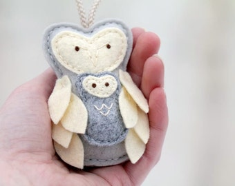 Mother and Baby Owl Ornament Gray. Mother's Love Christmas Ornament. Gift for New Mom. Felt Plush Owl Decor Handmade by OrdinaryMommy
