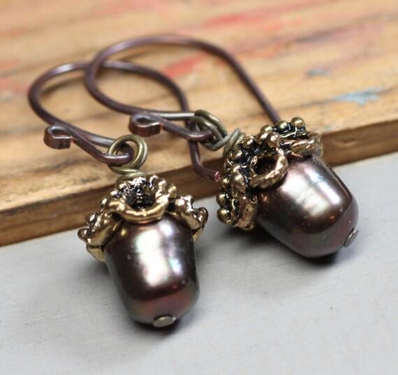 Acorn Earrings Dark Forest Green Pearl Earrings Woodland Jewelry