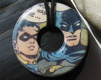BATMAN and ROBIN Comic Book Washer Pendant Necklace DC Comic Books