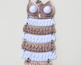 1970s 6 inch long Articulated OWL Necklace