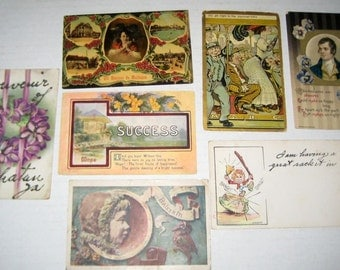 7 Antique Postcards  - Various Themes - for Collecting, Altered Art, Scrapbooking, Crafts