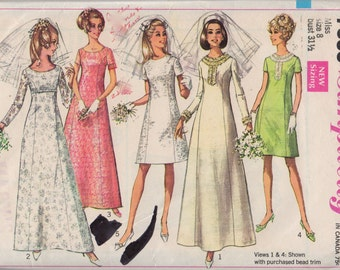Simplicity 7538 1960s Misses Wedding Gown Dress Pattern Princess Seaming Womens Vintage Sewing Pattern Size 8 Bust 31