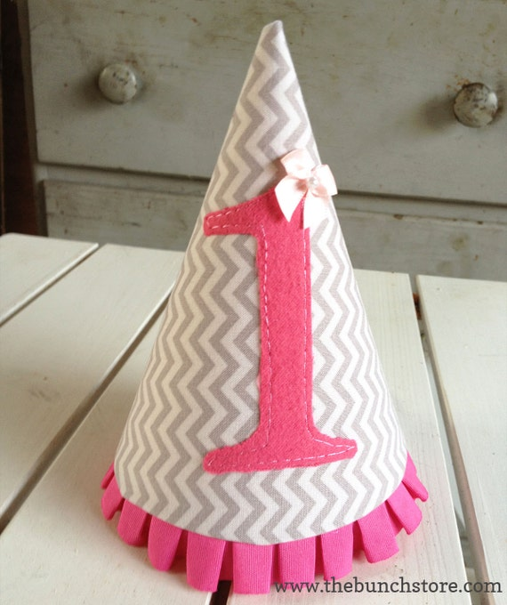 Girl's First Birthday Party Hat Gray And White Vertical