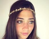 CHAIN HEADPIECE- chain headdress head chain gold or a silver leafchain