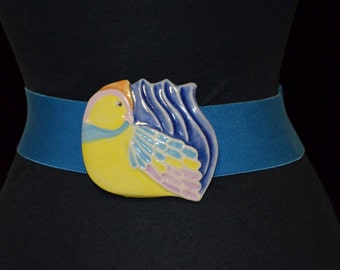 Ceramic Pottery Belt wide Buckle.  Tropical Bird.  Blue and Yellow.  Cinch Elastic Stretch Belt. 26 through 30