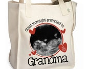 Great moms get promoted to grandma tote heart photo personalized tote bag - perfect Valentine's Day gift